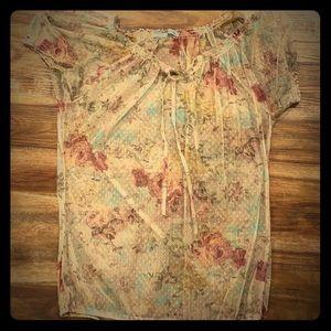 Brownish, floral, sheer shirt